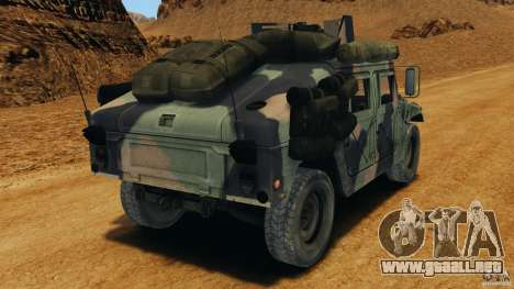 HMMWV M1114 v1.0 para GTA 4 Vista posterior izquierda