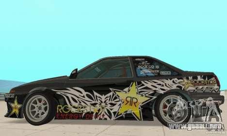 Toyota AE86wrt Rockstar para GTA San Andreas vista posterior izquierda