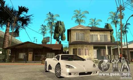 SSC Ultimate Aero Stock version para GTA San Andreas vista hacia atrás