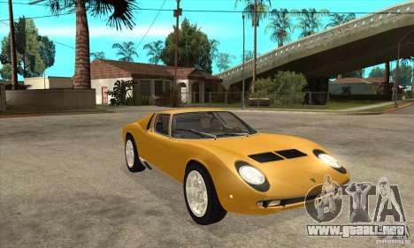 Lamborghini Miura 1966 para GTA San Andreas vista hacia atrás