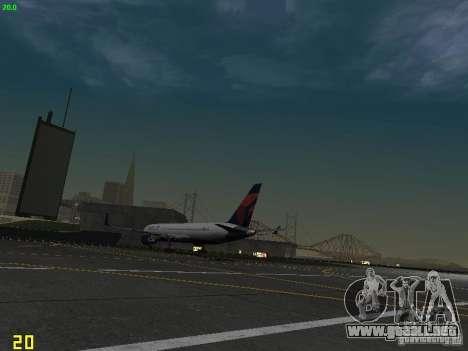 Boeing 767-400ER Delta Airlines para GTA San Andreas vista hacia atrás