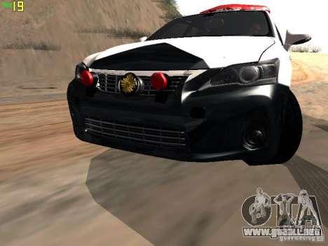 Lexus CT200H Japanese Police para visión interna GTA San Andreas