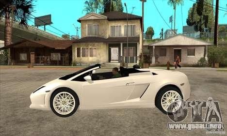 Lamborghini Gallardo Spyder v2 para GTA San Andreas left