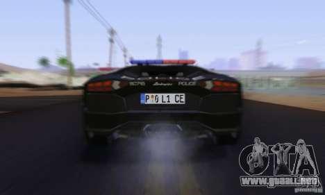 Lamborghini Aventador LP700-4 Police para vista lateral GTA San Andreas