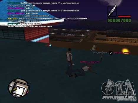 Cuchillo de CLEO para GTA San Andreas sucesivamente de pantalla