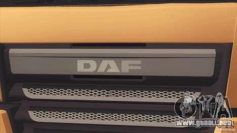 DAF XF Euro 6 para GTA San Andreas vista hacia atrás