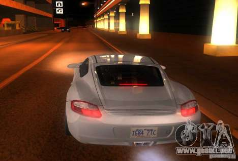 Porsche Cayman S para GTA San Andreas vista hacia atrás