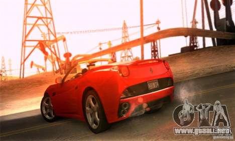 Ferrari California V3 para GTA San Andreas vista posterior izquierda