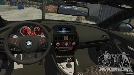 BMW M6 Hurricane RR para GTA 4 vista hacia atrás