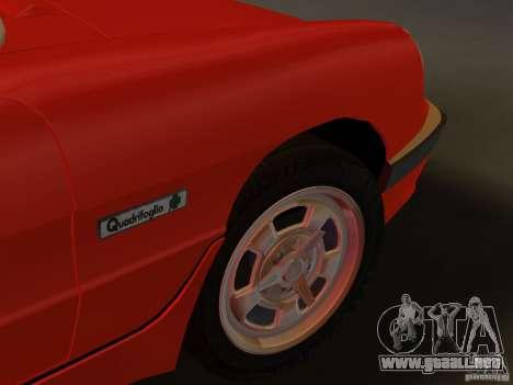 Alfa Romeo Spider 1986 para GTA Vice City vista posterior