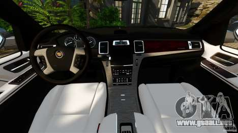 Cadillac Escalade ESV 2012 para GTA 4 vista hacia atrás