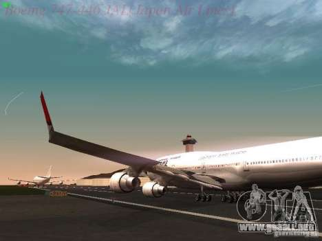 Boeing 747-446 Japan-Airlines para visión interna GTA San Andreas