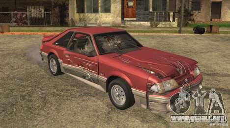 Ford Mustang GT 5.0 1993 para la vista superior GTA San Andreas