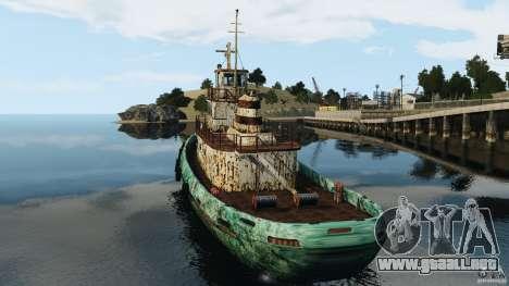 Realistic Rusty Tugboat para GTA 4 Vista posterior izquierda
