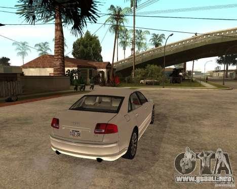 Audi A8 2003 para GTA San Andreas vista posterior izquierda