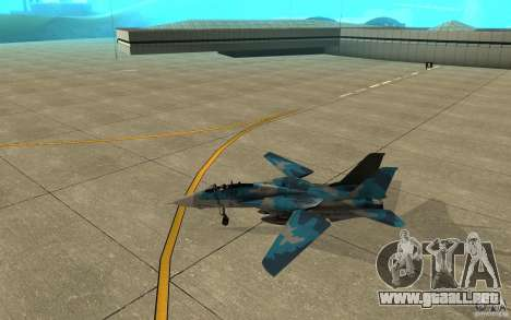 F-14 Tomcat Blue Camo Skin para GTA San Andreas vista posterior izquierda