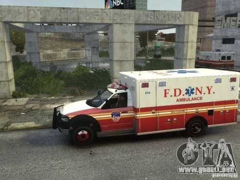 Ford F-350 Ambulance FDNY para GTA 4 left