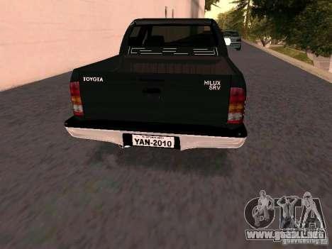 Toyota Hilux SRV 3.0 4X4 Automatica para GTA San Andreas vista posterior izquierda