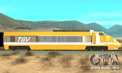 TGV SOUTH WEST para GTA San Andreas vista posterior izquierda