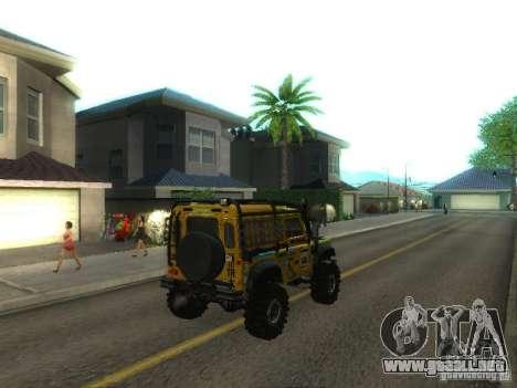 Land Rover Defender Off-Road para GTA San Andreas vista posterior izquierda