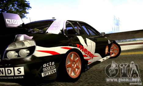Subaru Impreza WRC 2007 para GTA San Andreas vista hacia atrás