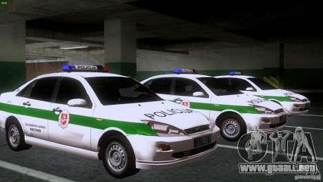 Ford Focus Policija para GTA San Andreas vista hacia atrás