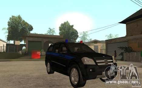 Mercedes Benz GL500 policía para GTA San Andreas vista hacia atrás