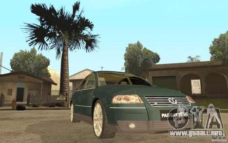 Volkswagen Passat B5+ W8 4Motion para GTA San Andreas vista hacia atrás