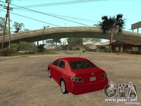 Toyota Corolla 2008 para GTA San Andreas vista posterior izquierda