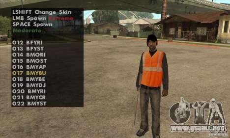 Skin Selector v2.1 para GTA San Andreas tercera pantalla