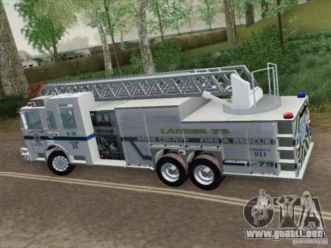 Pierce Puc Aerials. Bone County Fire & Ladder 79 para GTA San Andreas vista hacia atrás
