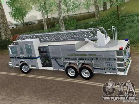 Pierce Puc Aerials. Bone County Fire & Ladder 79 para GTA San Andreas vista hacia atrás
