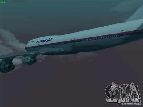 Boeing 747-400 Malaysia Airlines para vista lateral GTA San Andreas
