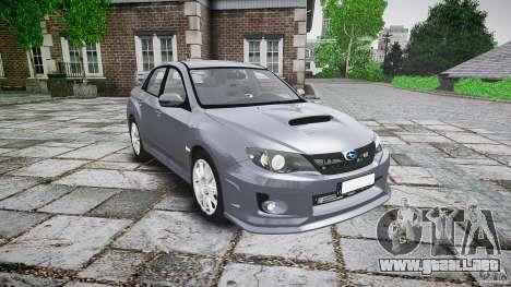Subaru Impreza WRX 2011 para GTA 4 vista hacia atrás
