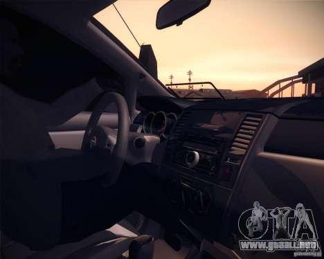Nissan Versa Tuned para GTA San Andreas vista hacia atrás