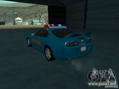 Toyota Supra California State Patrol para GTA San Andreas vista posterior izquierda