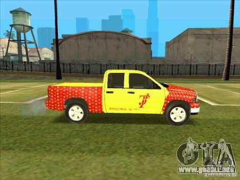 Tej Dodge RAM 2 Fast 2 Furious para GTA San Andreas vista hacia atrás