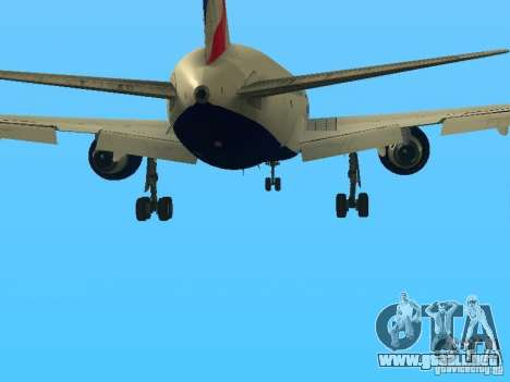 Boeing 767-300 British Airways para vista inferior GTA San Andreas