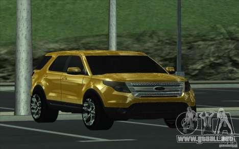 Ford Explorer Limited 2013 para GTA San Andreas vista hacia atrás