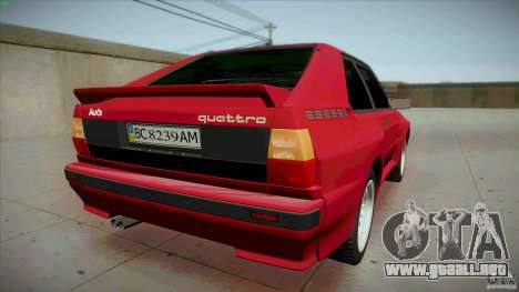 Audi Sport quattro 1983 para GTA San Andreas vista posterior izquierda