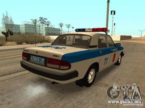 GAZ 3110 policía para GTA San Andreas vista posterior izquierda