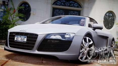 Audi R8 Spyder 5.2 FSI Quattro V4 [EPM] para GTA 4 vista desde abajo