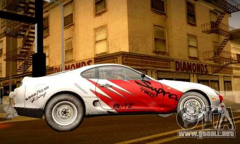 Toyota Supra JZA80 RZ Dragster para vista lateral GTA San Andreas