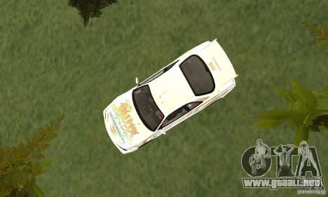 Nissan SkyLine R34 Tunable V2 para GTA San Andreas vista hacia atrás
