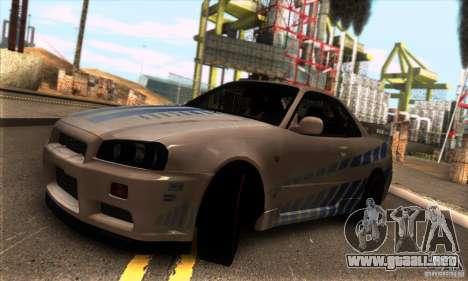 Nissan Skyline R34 GT-R Tunable para GTA San Andreas vista posterior izquierda