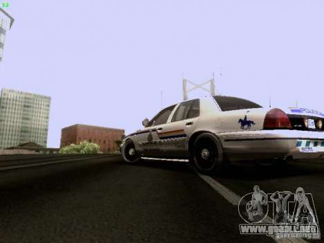 Ford Crown Victoria Canadian Mounted Police para GTA San Andreas left