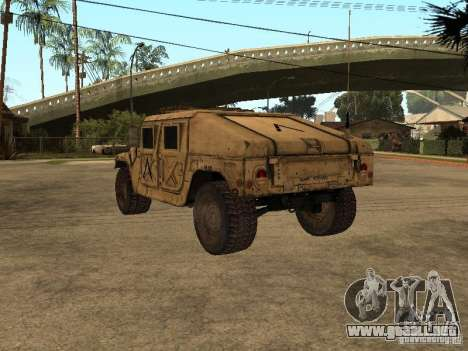 War Hummer H1 para GTA San Andreas vista posterior izquierda
