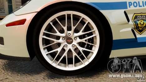 Chevrolet Corvette ZR1 Police para GTA 4 vista lateral
