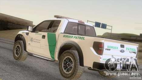 Ford Raptor para GTA San Andreas vista posterior izquierda