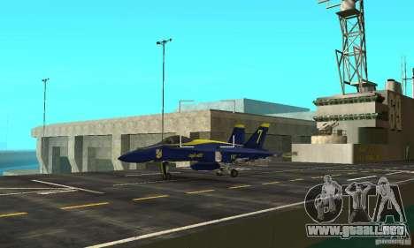 Blue Angels Mod (HQ) para GTA San Andreas vista hacia atrás